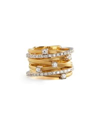 Goa Seven Row Mixed Gold Diamond Ring Marco Bicego