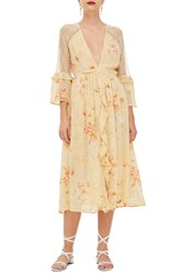 Topshop Lace Meadow Midi Dress Ivory Multi