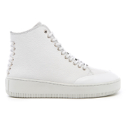 Mcq By Alexander Mcqueen Women's Netil Laced Eyelets Leather Hi Top Trainers White