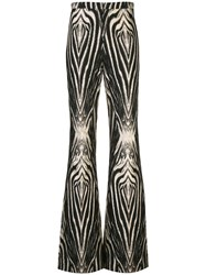 Christian Siriano Zebra Print Flared Trousers Black