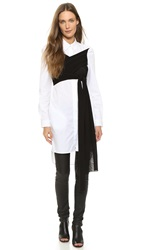 Maison Martin Margiela Poplin Tunic With Jersey Wrap White Black