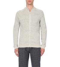 Reiss Runner Marl Effect Cotton Blend Cardigan Grey