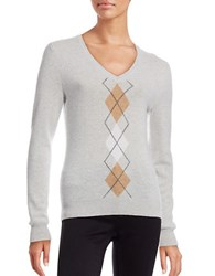 Lord And Taylor Petite Argyle Cashmere Sweater Light Grey Heather