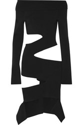 Proenza Schouler Off The Shoulder Cutout Stretch Knit Top Black