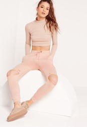 Missguided Ripped Front Joggers Nude Beige