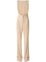 Alessandra Rich Open Front Pinstripe Jumpsuit Nude And Neutrals