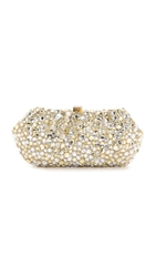 Santi Gold And Silver Jeweled Clutch Beige