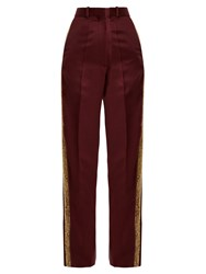 Hillier Bartley Bathorea Faux Snake Trimmed Wool Blend Trousers Burgundy Multi