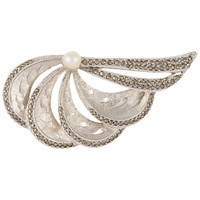 Susan Caplan Vintage 1940S Silver Plated Marcasite And Freshwater Pearl Brooch Silver