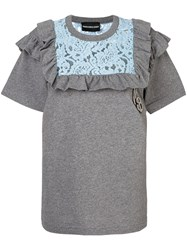 Marco Bologna Lace Ruffle T Shirt Cotton Grey