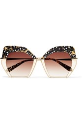 Krewe Octavia Square Frame Acetate And Gold Plated Sunglasses Brown