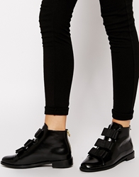 F Troupe Black Bow Flat Ankle Boots