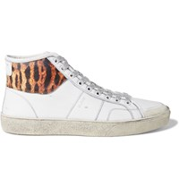 Saint Laurent Animal Print Panelled Leather High Top Sneakers White