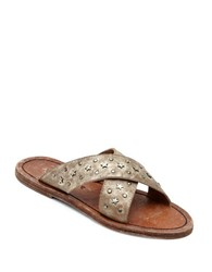 Matisse Lefty Criss Cross Leather Slide Sandals Old Gold