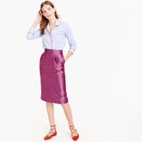 J.Crew Pintucked Pencil Skirt In Houndstooth Jacquard