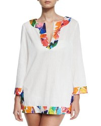 Milly Crinkle Cotton Coverup Tunic W Banana Leaf Trim White