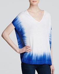 Splendid Sweater Dip Dye V Neck White Mediterranean