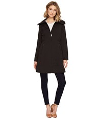 Cole Haan 36 Single Breasted Rain Jacket With Packable Hood Black Women's Coat