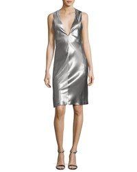 Narciso Rodriguez Sleeveless Low Armhole Shift Dress Silver
