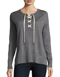 Splendid Crewneck Lace Up Sweater Heather Cinder