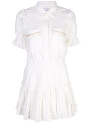 Misa Los Angeles Striped Button Up Flare Dress White