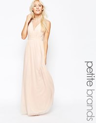 Little Mistress Petite Maxi Dress With Mesh Neckline Beige