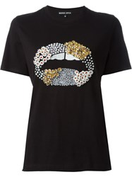 Markus Lupfer Embellished Lips T Shirt Black