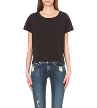 Sundry Distressed Cotton Jersey T Shirt Old Black