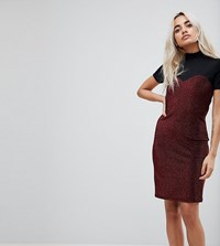 Noisy May Petite High Neck Mesh Top Glitter Bodycon Dress Red