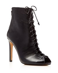 Vince Camuto Kelby Lace Up Peep Toe High Heel Booties Black