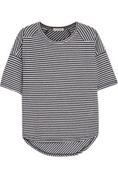 Rag And Bone Valley Striped Linen Modal Blend T Shirt Navy