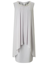Jacques Vert Embellished Neck Layer Dress Light Grey