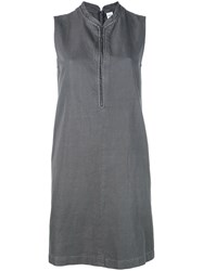 Aspesi Sleeveless Shift Dress Women Cotton Linen Flax 40 Grey