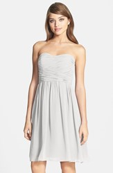 Women's Donna Morgan 'Sarah' Strapless Ruched Chiffon Dress Dove Grey