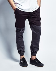Publish Two Tone Joggers In Black Charcoal