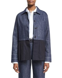 Elizabeth And James York Chambray Button Front Jacket Indigo