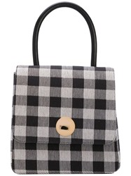 Mansur Gavriel Checked Tote Women Cotton Leather One Size Black