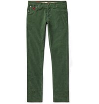 Isaia Slim Fit Cotton Blend Corduroy Trousers Dark Green