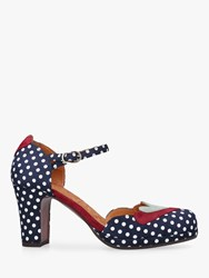 Chie Mihara Jalove Two Part Block Heel Court Shoes Navy Suede
