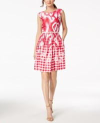 Ellen Tracy Tracey Petite Belted Printed Fit And Flare Dress Pink Multi