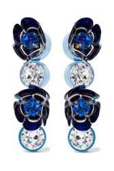 Shourouk Silver Tone Crystal And Sequin Clip Earrings Blue