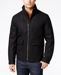 Nautica Men's Wool Blend Bomber Jacket Black