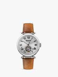 Ingersoll 'S The Protagonist Automatic Heartbeat Leather Strap Watch Tan Silver I08901