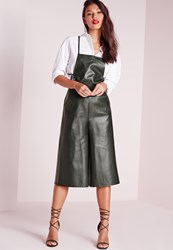 Missguided Faux Leather Culotte Jumpsuit Green Green