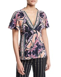 Nanette Lepore Venus Short Sleeve Floral Silk Top Black Multicolor Black Pattern