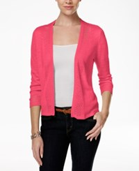 Charter Club Crochet Trim Open Cardigan Only At Macy's Crushed Peony