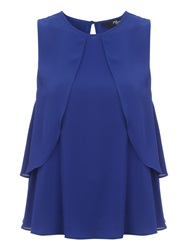 Jane Norman Dotty Layered Chiffon Top Blue