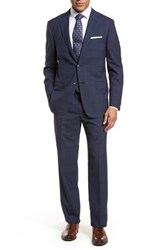 Hickey Freeman 'S Big And Tall Beacon Classic Fit Plaid Wool Suit Blue