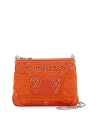 Christian Louboutin Triloubi Large Markesa Triple Gusset Embroidered Shoulder Bag Orange