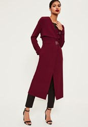 Missguided Burgundy Crepe Maxi Belted Duster Coat